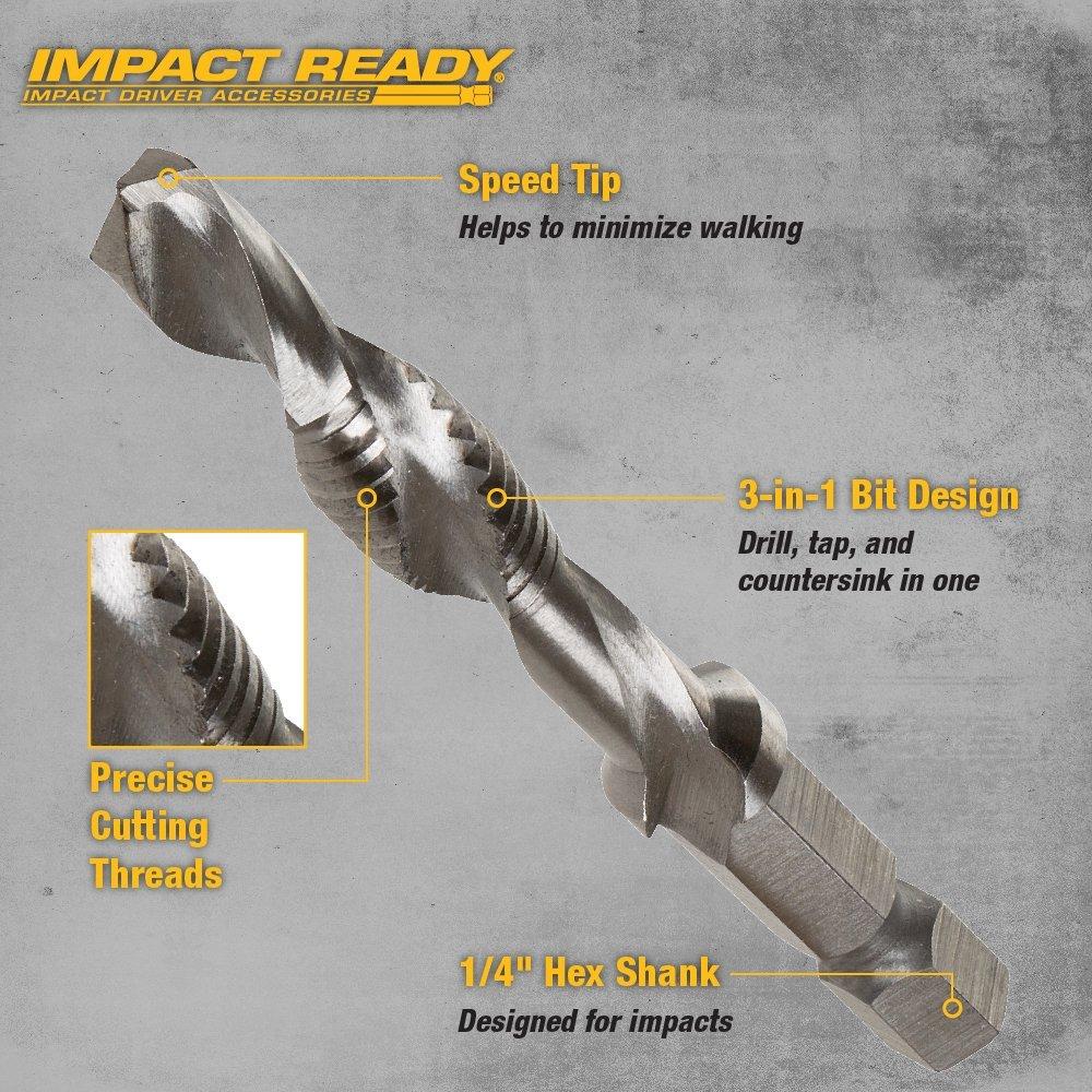 "Dewalt DWADTQTR5SET  Impact Ready 5-Piece Drill Tap Set, 1/4"" Capacity"
