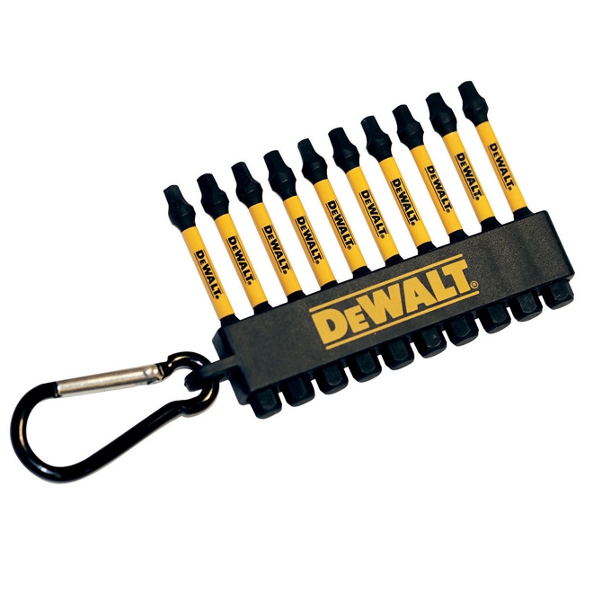Dewalt DWA2SQ2IRCARC Flex Torq 2inch Square 2 Impact Ready Bits with Carabiner (10 PC)