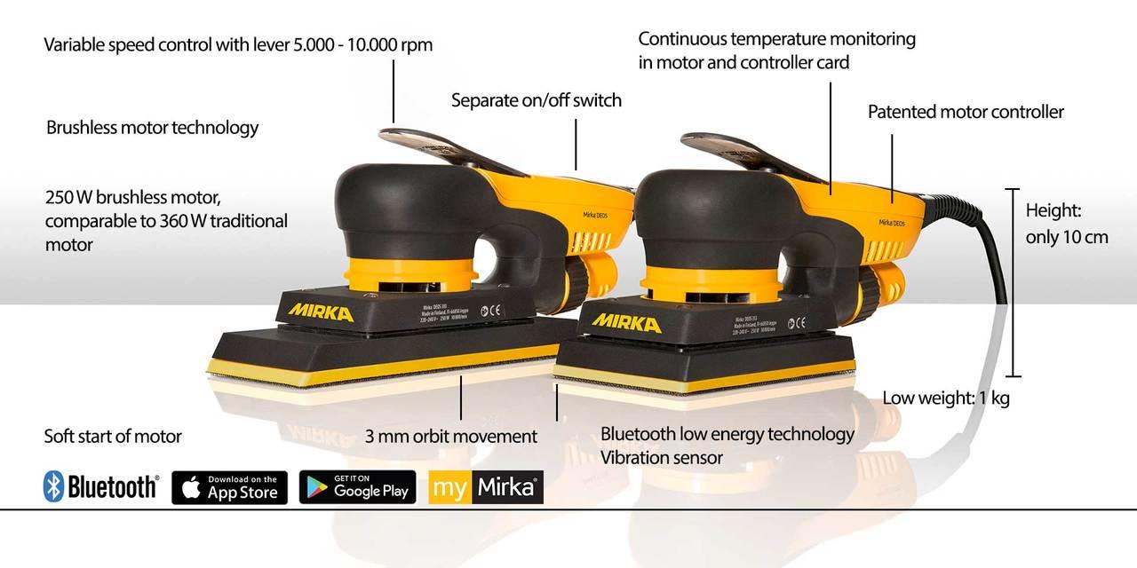 "Mirka Abrasives MIR-MID3830201CA Deos Sander 2.75"" x 7.75"" (3.0mm Stroke) with Bluetooth"