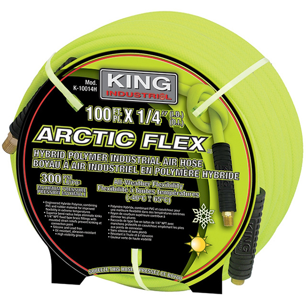 "King Industrial K-10014H 1/4"" X 100' Hybrid Polymer Industrial Air Hose"
