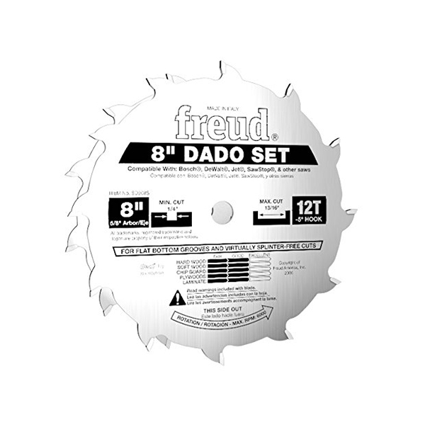 Freud FRE-SD208S 8In 12T Dado Set For Sawstop