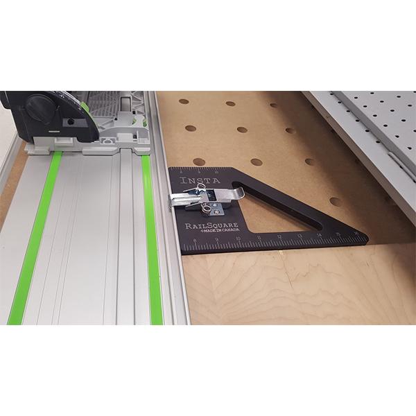 INSTA-RAILSQUARE+DOGS Insta-RailSquare Track Saw Square - Perfect Makita and Festool Rails
