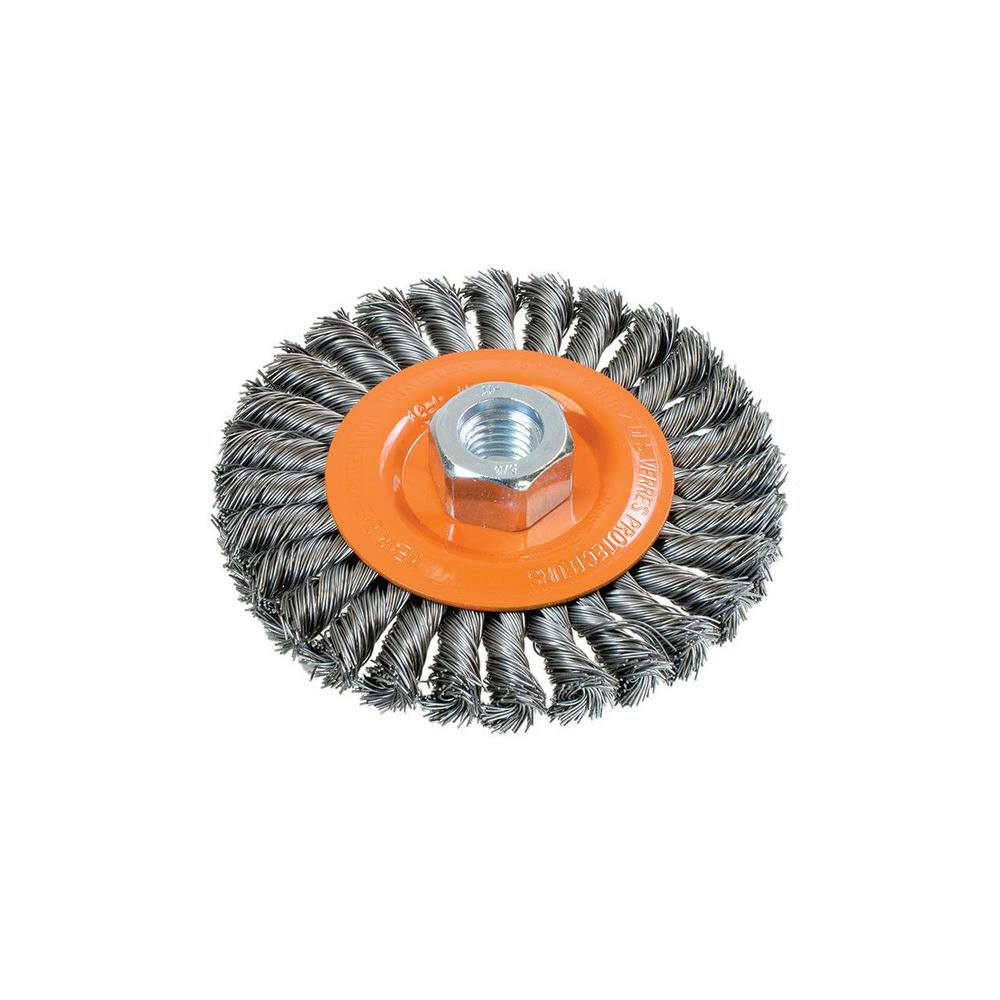 """Walter Surface Technologies WAL-13L454 4.5"""" Wide Wheel Brush with Knot-Twisted Wires"""
