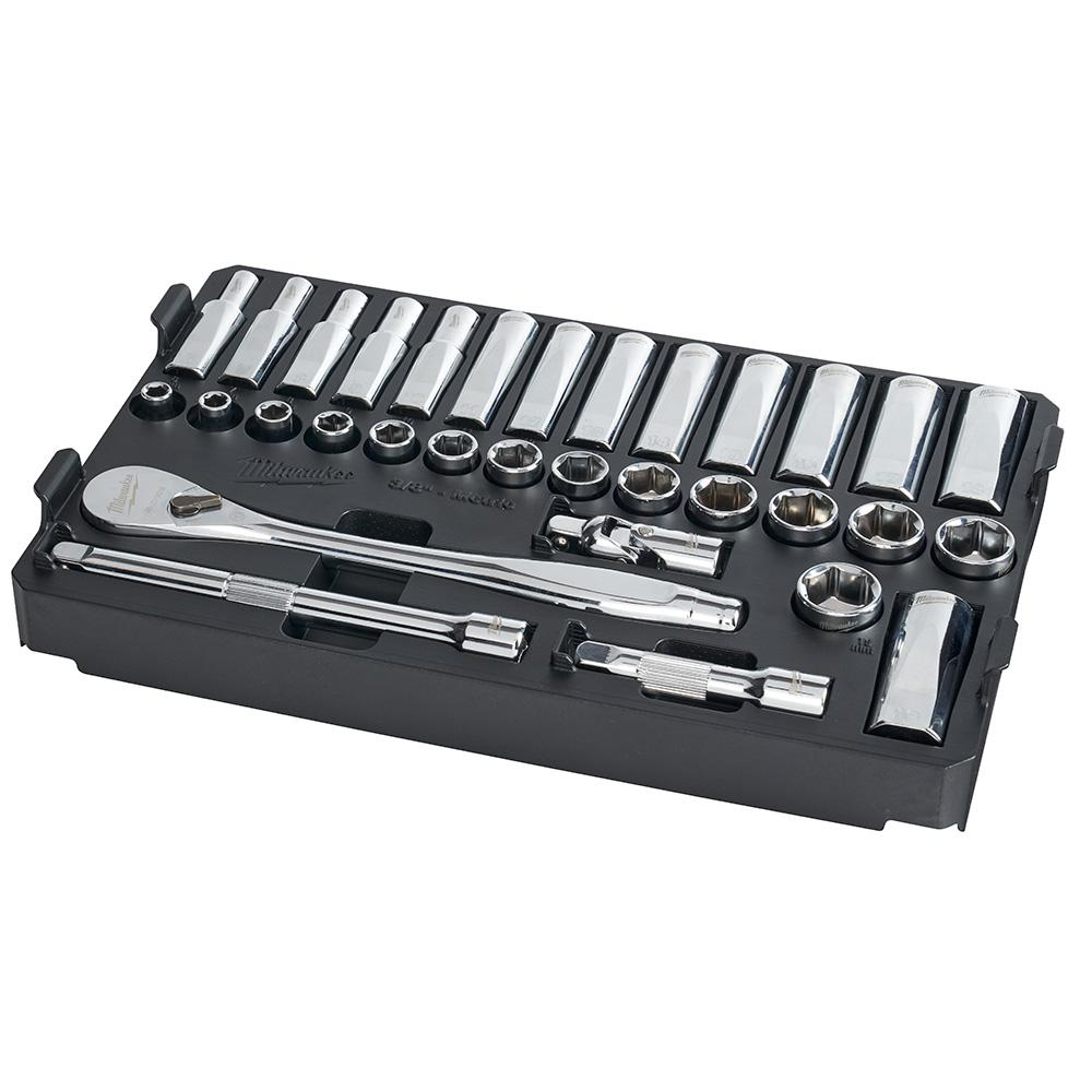 """Milwaukee 48-22-9482 3/8"""" 32pc Ratchet and Socket Set in PACKOUT - Metric"""