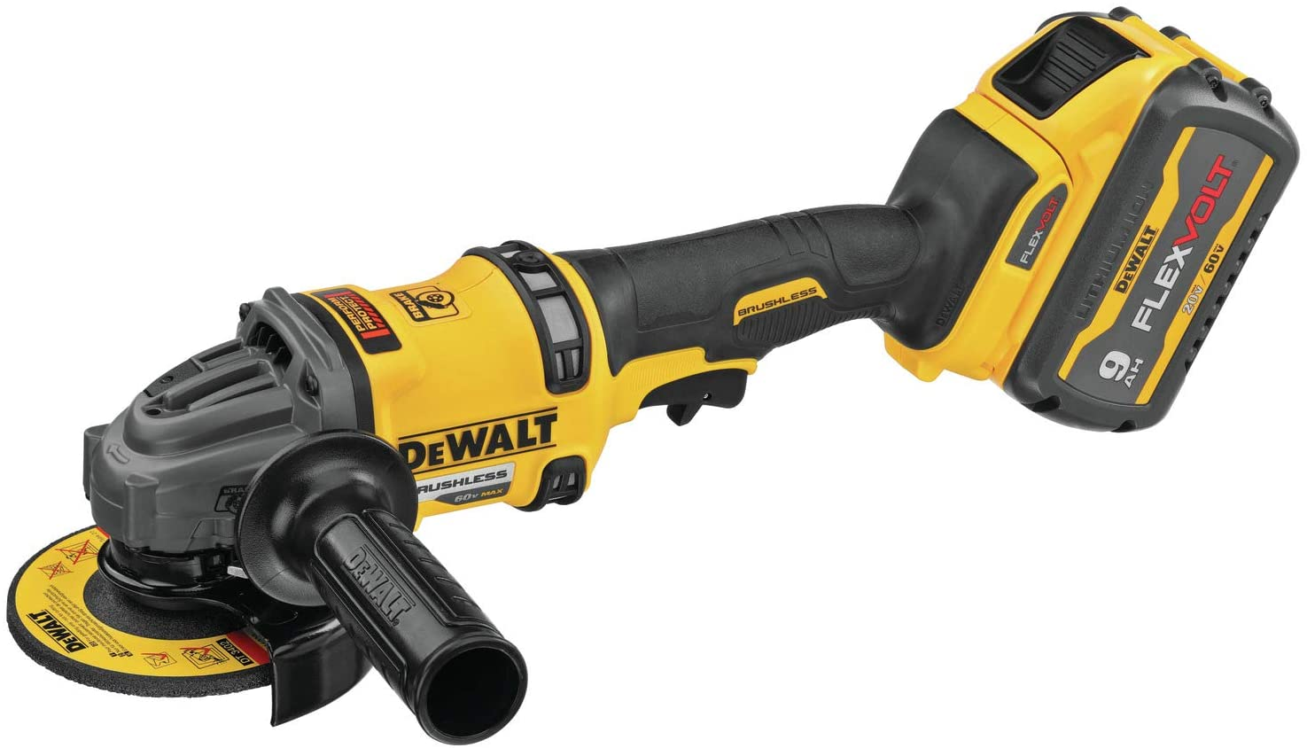 Dewalt DCG418X2 Flexvolt 60V MAX Brushless 4-1/2 In. - 6 In. Cordless Grinder With Kickback Brake Kit
