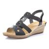 Rieker Women's Fanni 88 Wedge Sandal Black