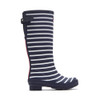 Joules Women's Welly Print Rain Boot W/ Adjust Back Gusset French Navy Stripe