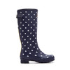 Joules Women's Welly Print Rain Boot W/ Adjust Back Gusset French Navy Spot