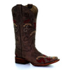 Circle G By Corral Women's LD Floral Embroidery Square Toe Boot Brown
