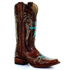 Circle G By Corral Women's LD Cross Embroidery Boot Honey/Turquoise