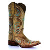 Circle G By Corral Women's LD Embroidery Square Toe Boot Gold
