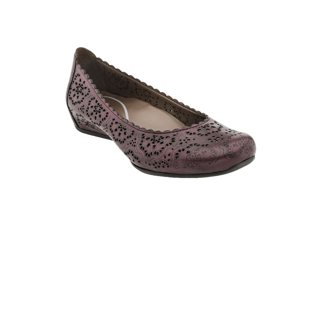 Earthies Women's Bindi Flat Wine Leather