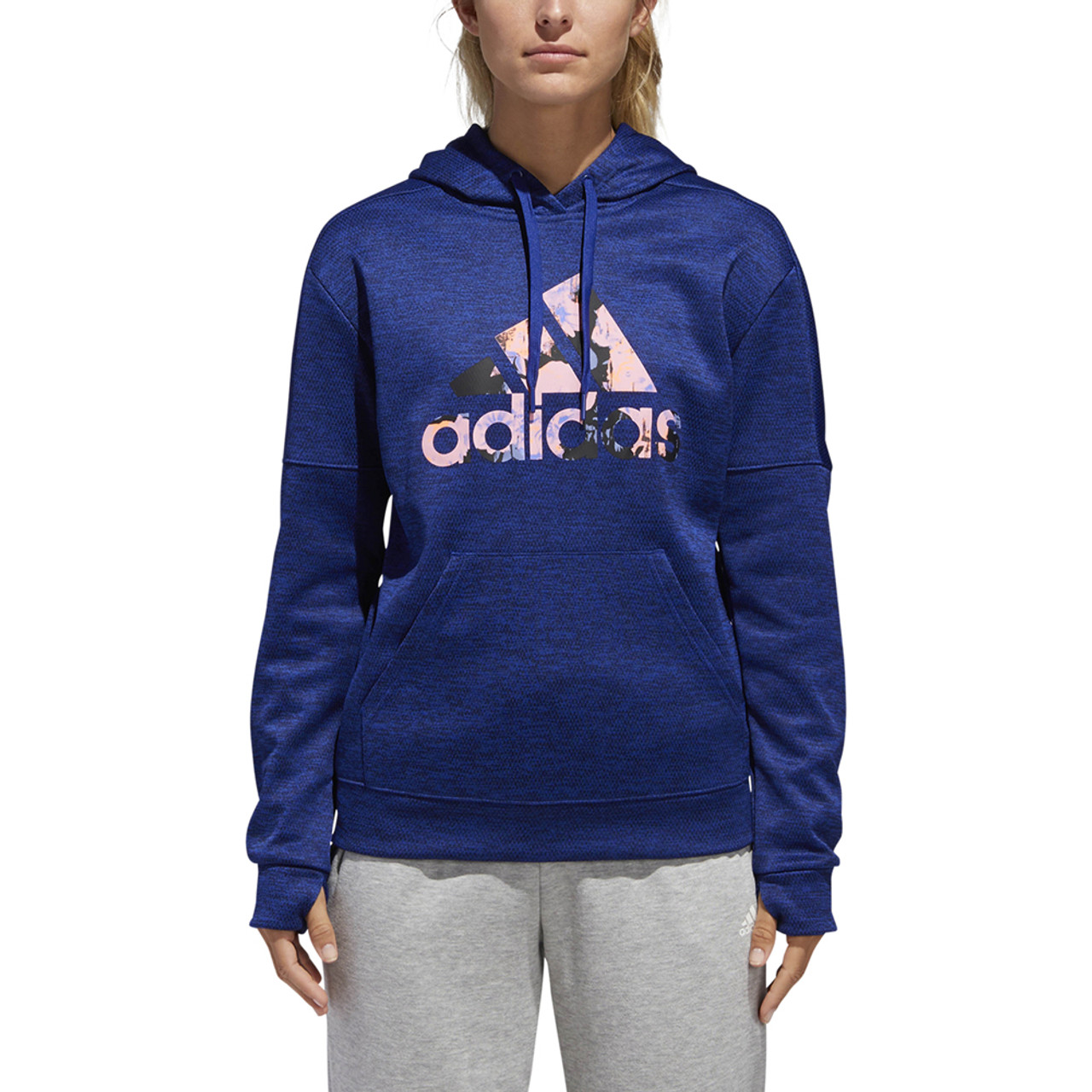 official images website for discount outlet Adidas Women's Floral Badge Of Sport Hoodie Mystery Ink