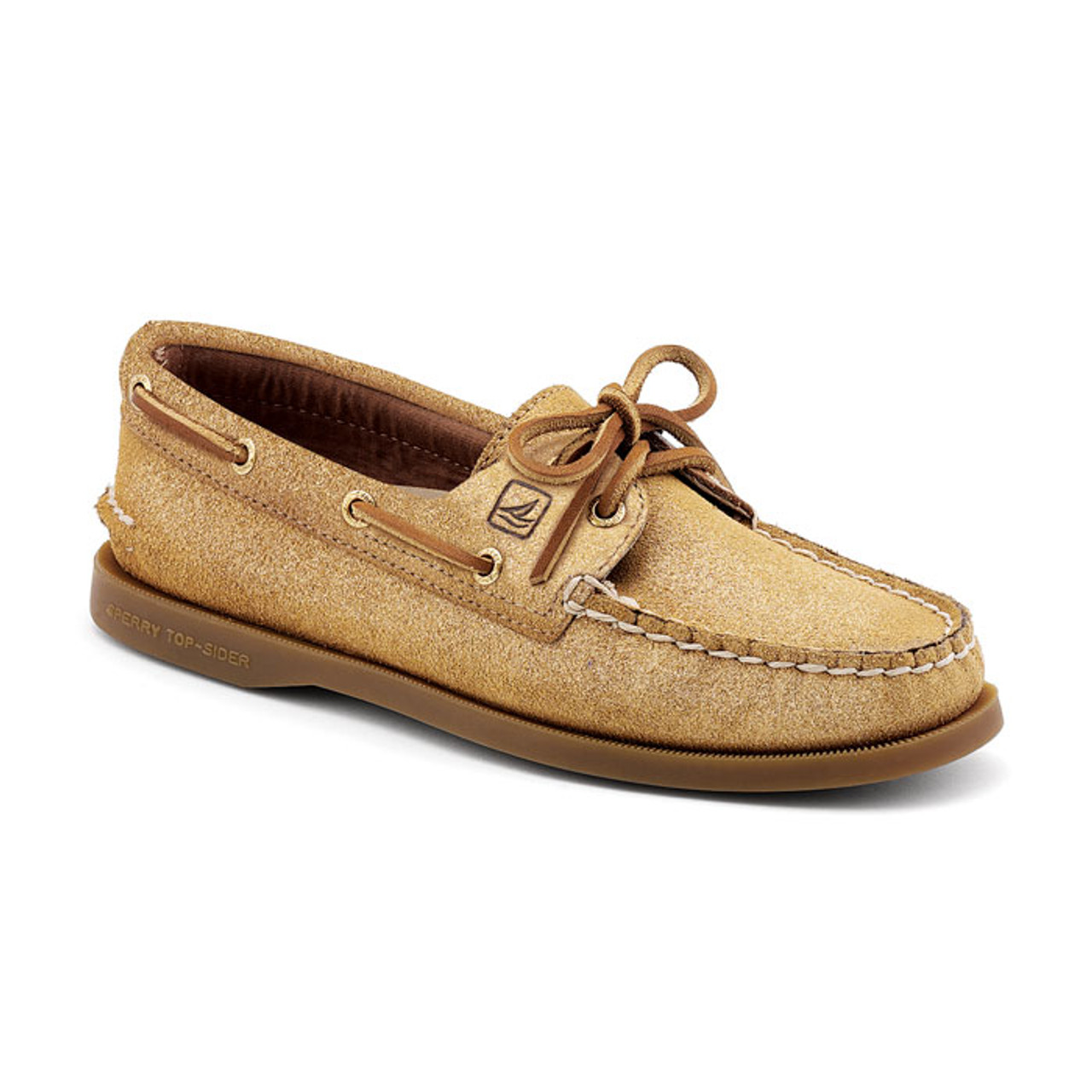 Sperry A O Gold Sparkle Suede Ladies Boat Shoes