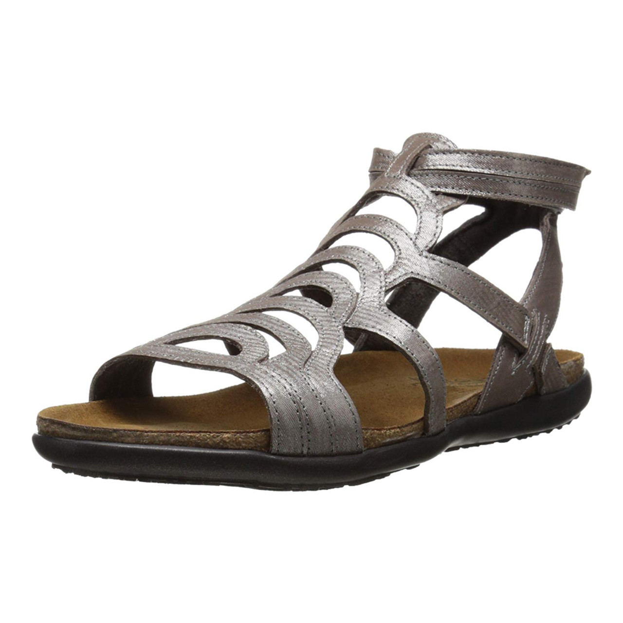bea4fc5b64f3 Naot Women s Sara Sandal Silver Threads Leather - Shop now   Shoolu.com
