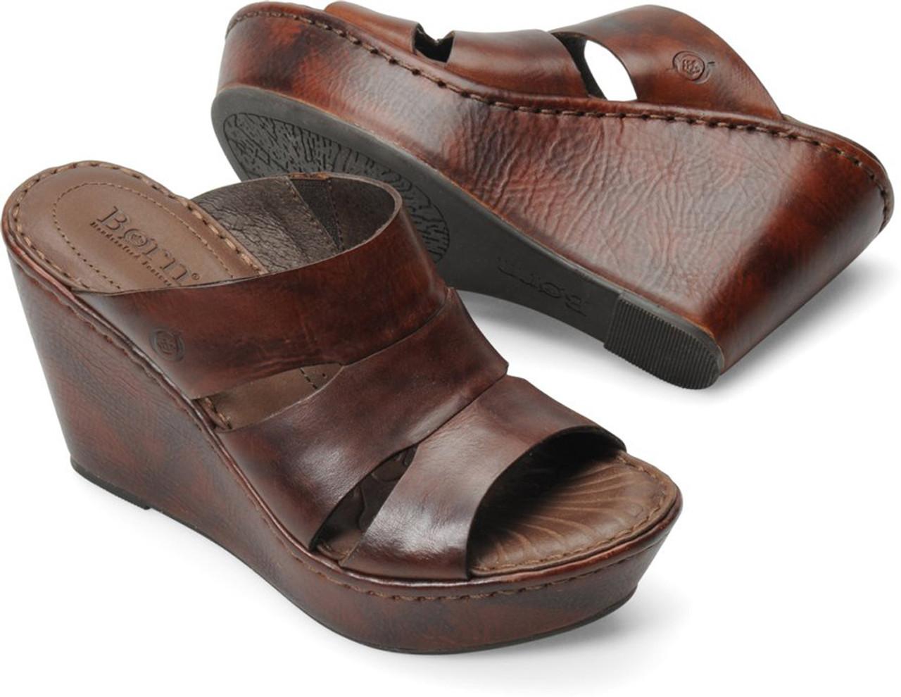 b7dd872312ad Born Women s Amalia Wedge Slide Sandal Whiskey Leather - Shop now    Shoolu.com