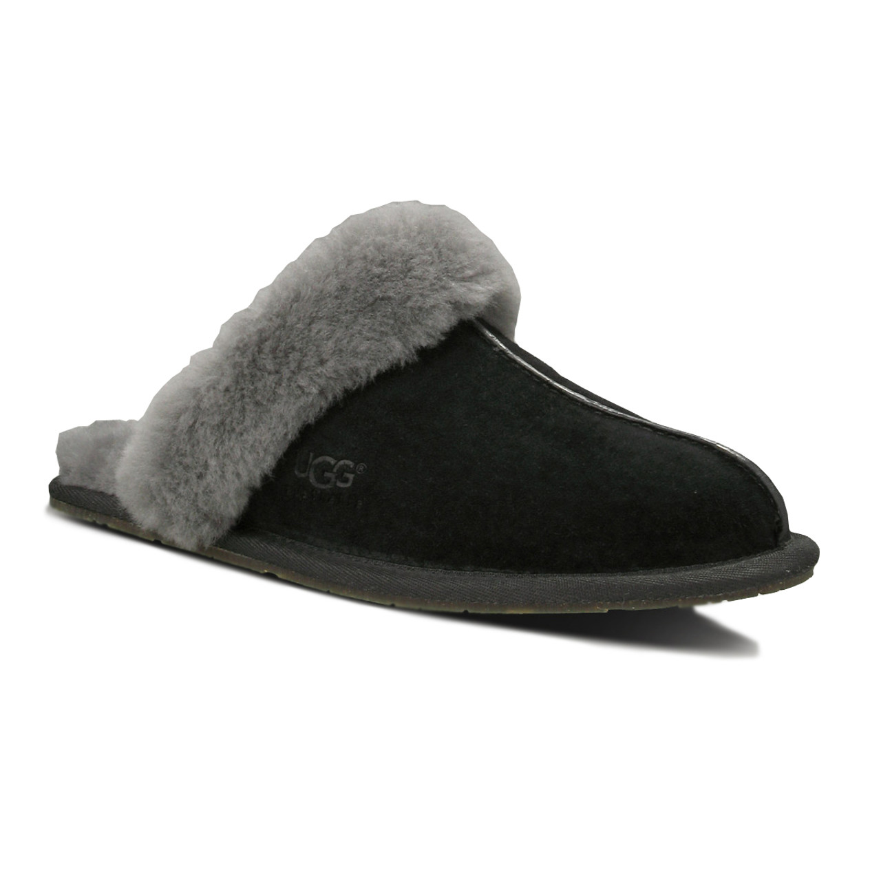 cb75d530af8e UGG Scuffette II Slippers Black Grey Ladies Sheepskin Suede Slippers - Shop  now   Shoolu