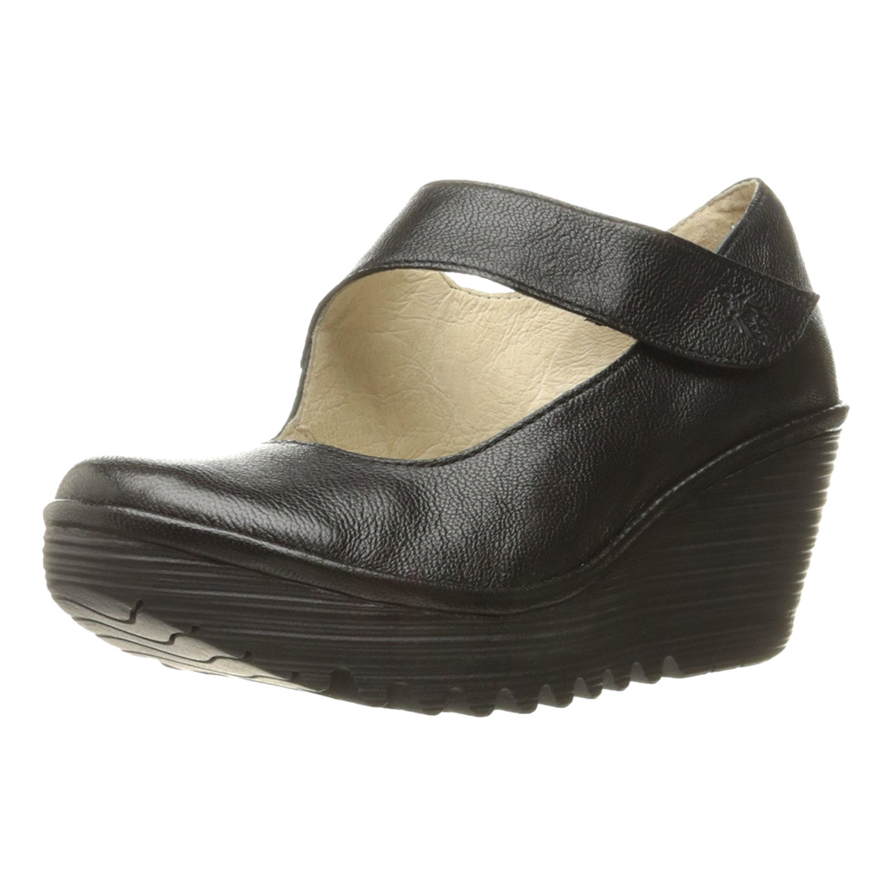 1a28bac3853ee Fly London Women's Yasi Wedge Black Mousse
