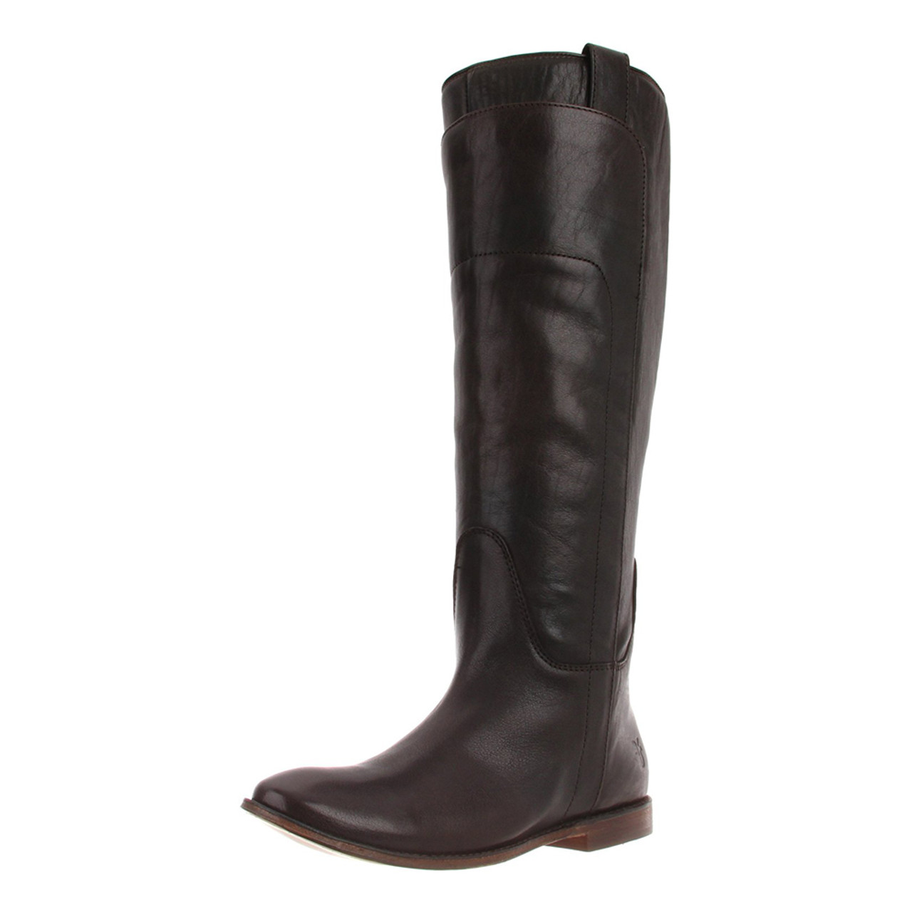 c2a829f1a6e FRYE Women's Paige Tall Riding Boot Dark Brown Burnished Full Grain