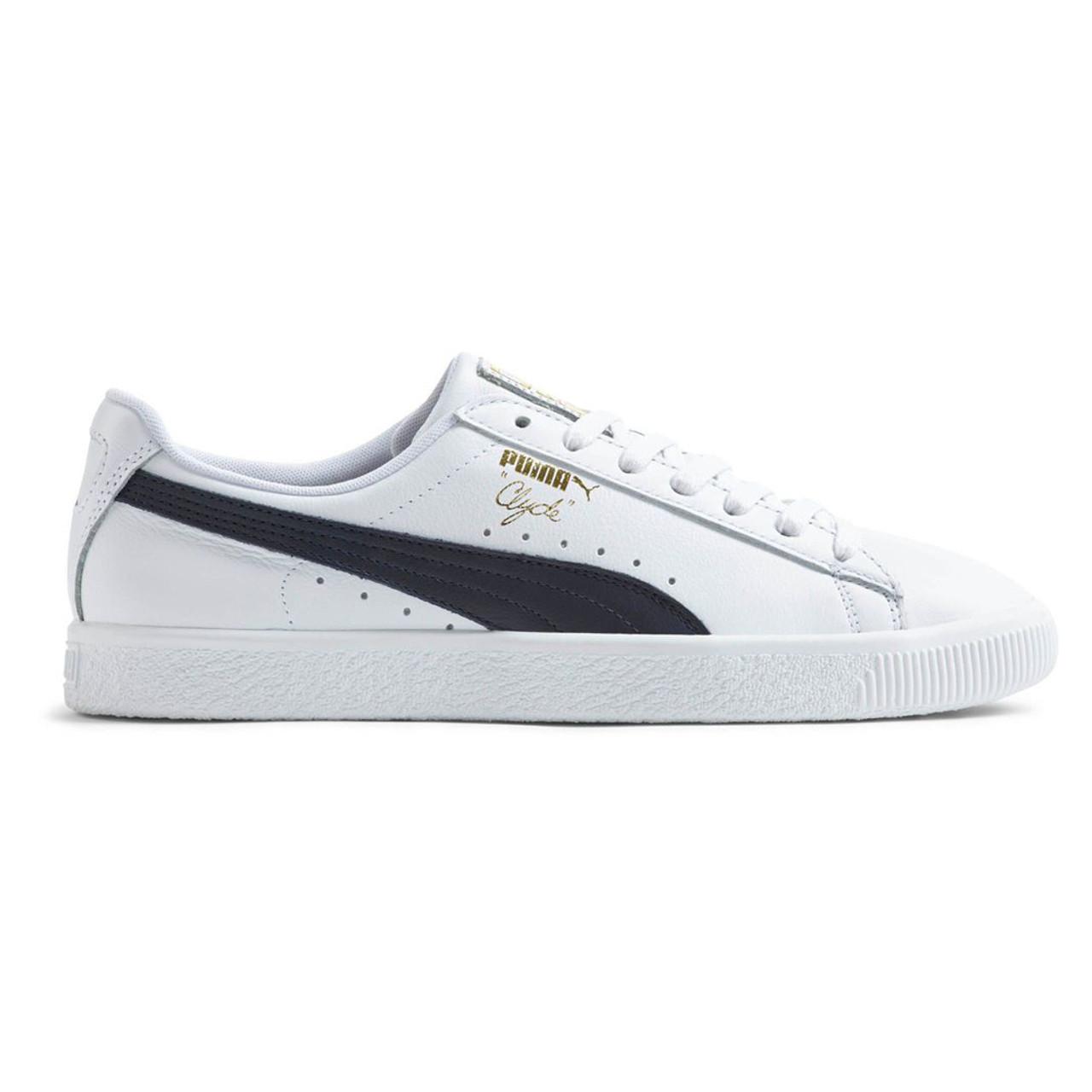 a7630bec18ac Puma Men s Clyde Core Foil Sneaker White Navy Gold - Shop now   Shoolu