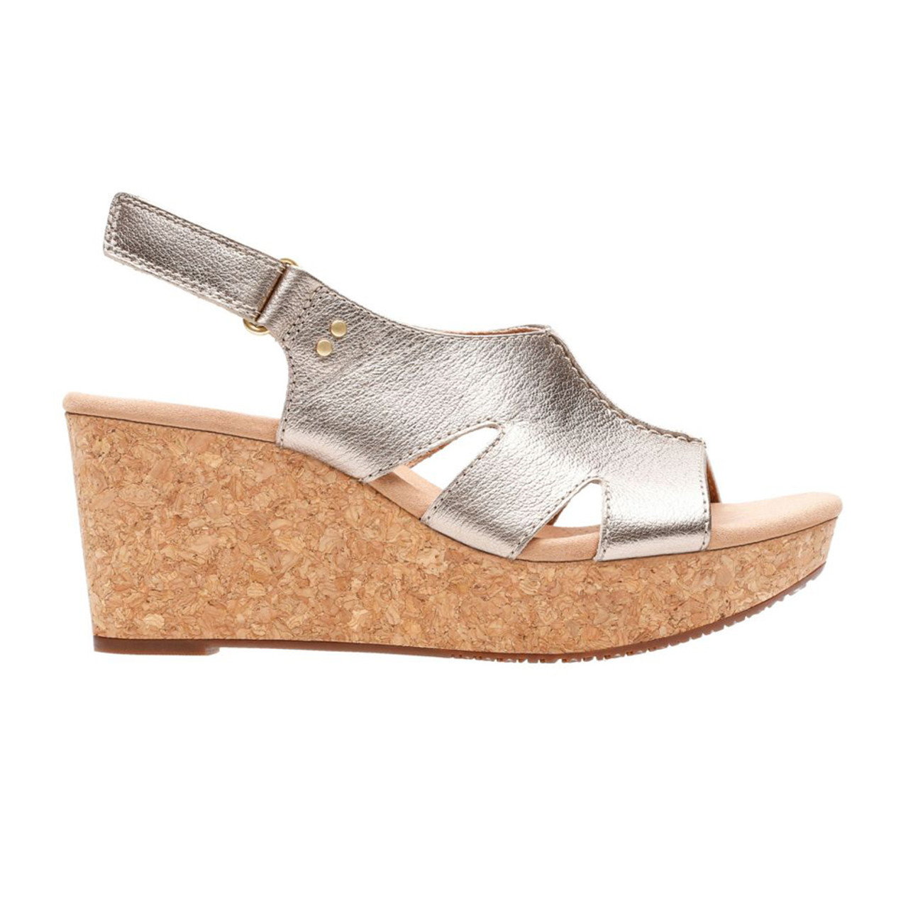 74f71fb5205 Clarks Women s Annadel Bari Wedge Sandal Gold Metallic - Shop now    Shoolu.com