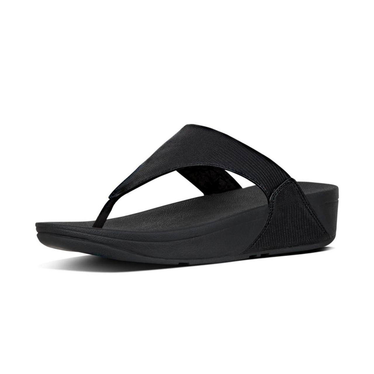 64abcdc53fbe3e Fitflop Women s Lulu Leather Thong Sandal Black - Shop now   Shoolu.com