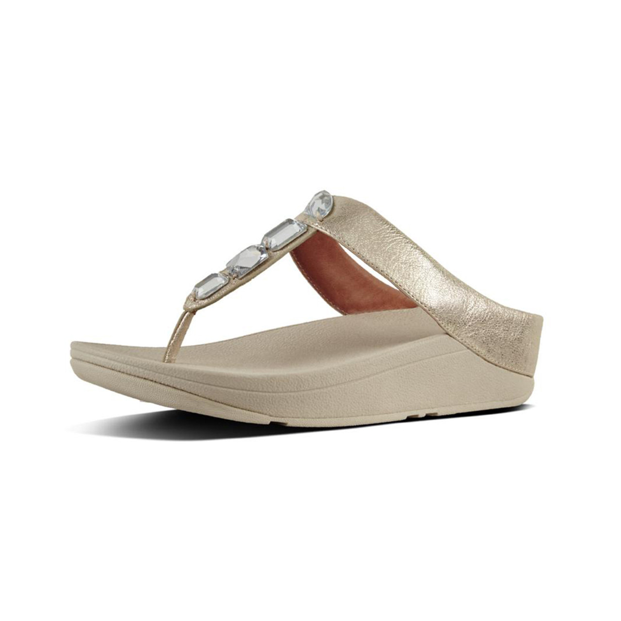 70483485a50f86 Fitflop Women s Roka Leather Thong Silver - Shop now   Shoolu.com
