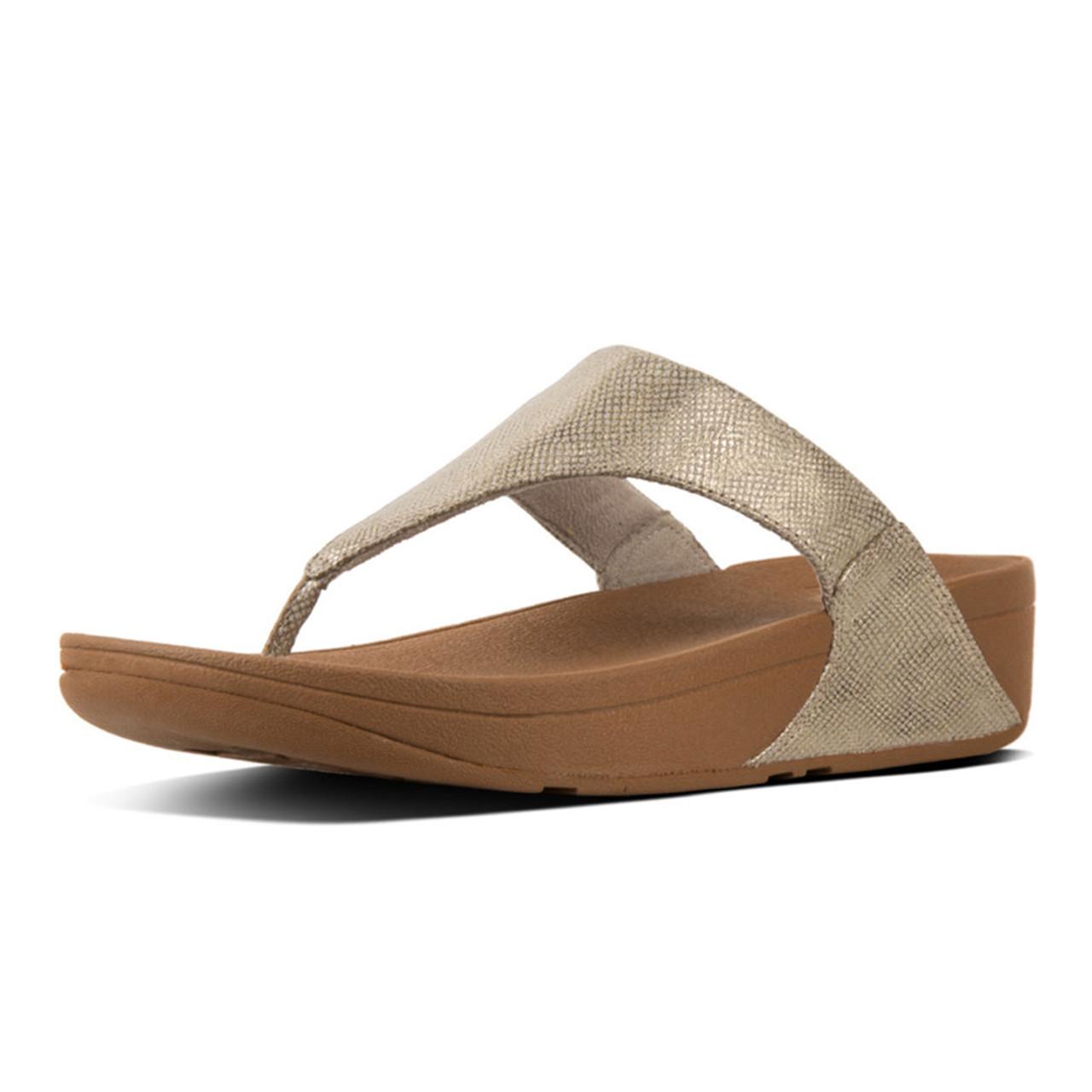 0440a06970c8f6 Fitflop Women s Lulu Thong Sandal Gold Shimmer Print - Shop now   Shoolu.com
