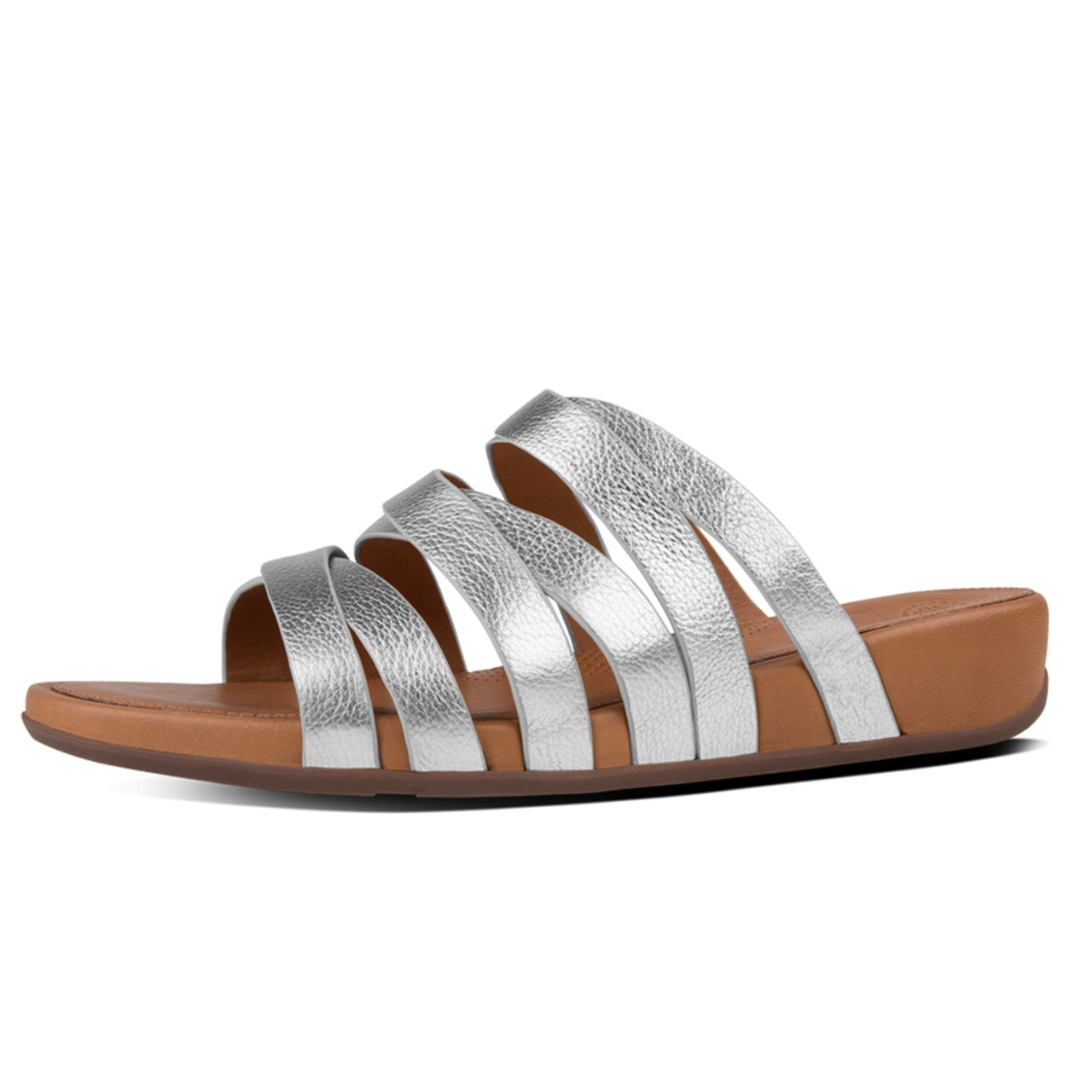 b3d566558 Fitflop Women s Lumy Leather Slide Silver - Shop now   Shoolu.com