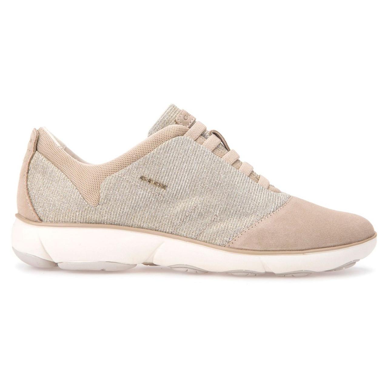 3e20ddcde3 Geox Women's Nebula Sneaker Lead/Taupe Glitter Suede - Shop now @ Shoolu.com