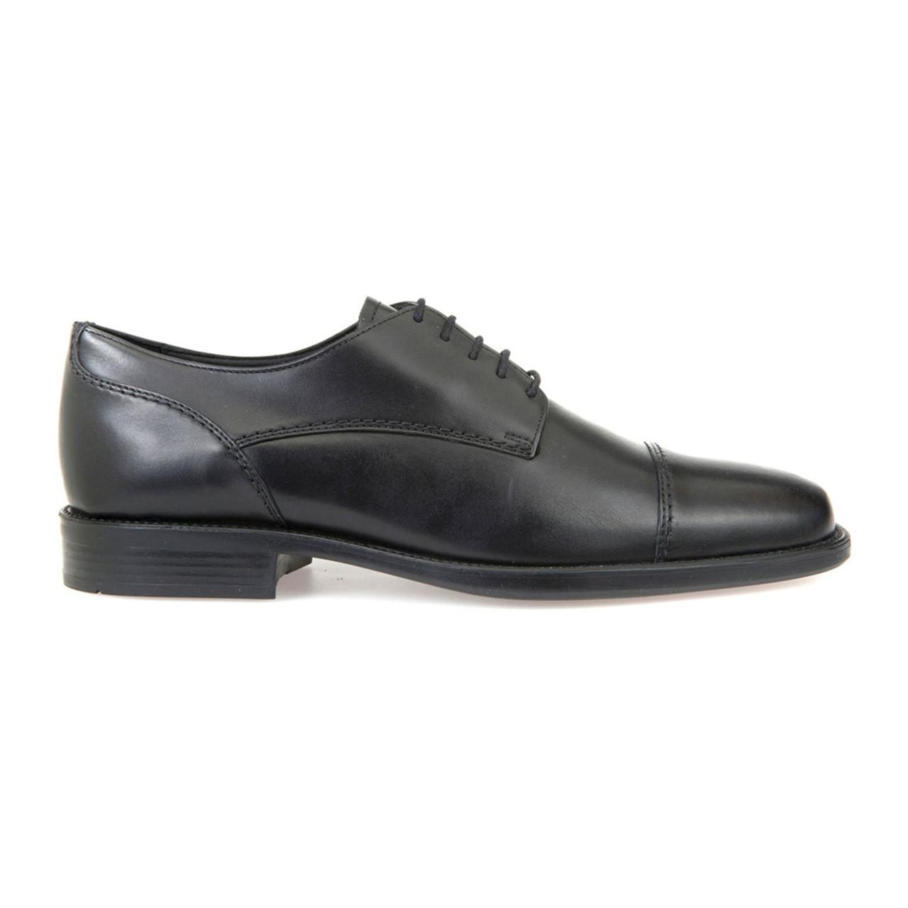 9cb8ae5d02a Geox Men s Federico Cap Toe Dress Oxford Black Leather - Shop now    Shoolu.com