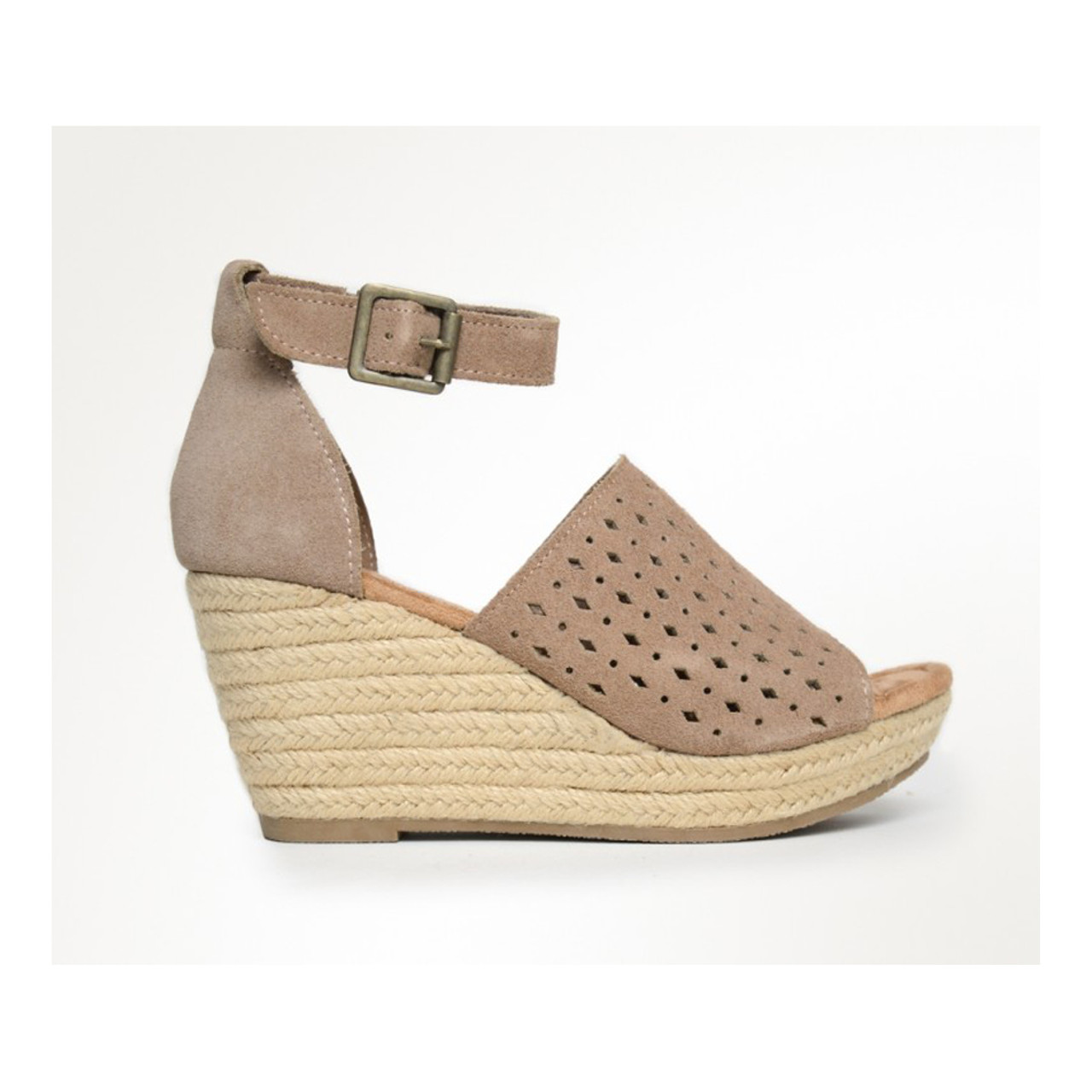 Minnetonka Women s Bell Wedge Sandal Taupe - Shop now   Shoolu.com e4099358b6