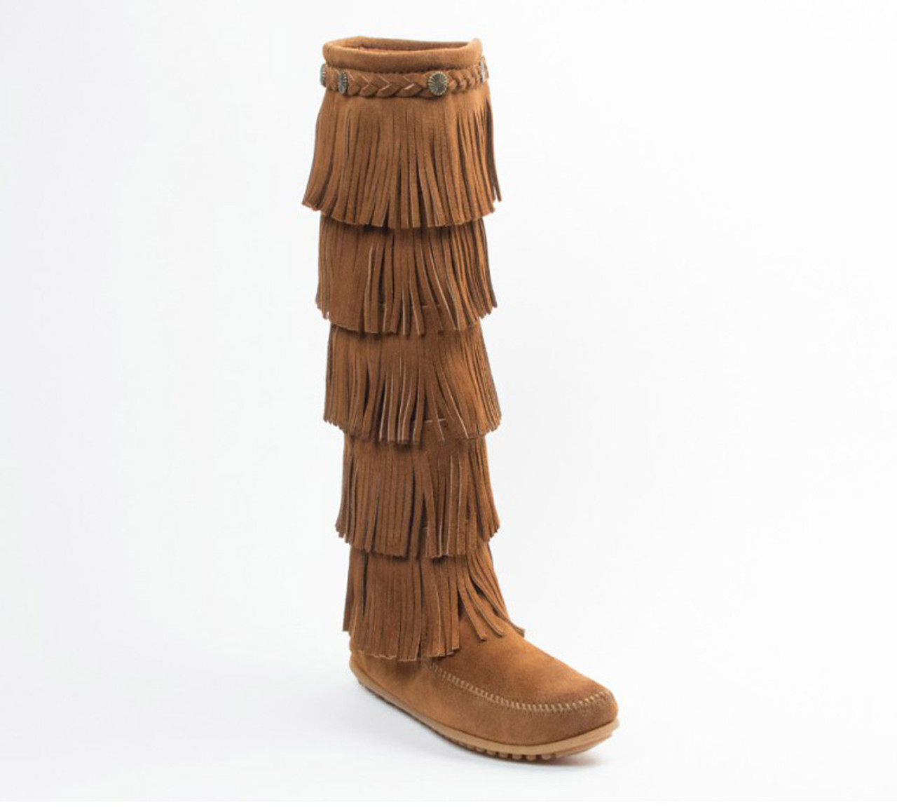 low priced united kingdom free shipping Minnetonka Women's 5 Layer Fringe Boot Dusty Brown