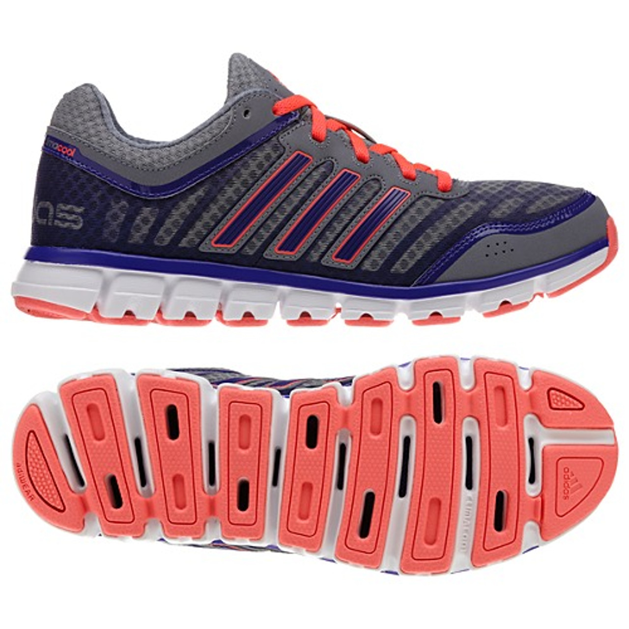 info for af1e2 04db8 Adidas ClimaCool Aerate 2 Grey/Red Zest Ladies Running Shoes