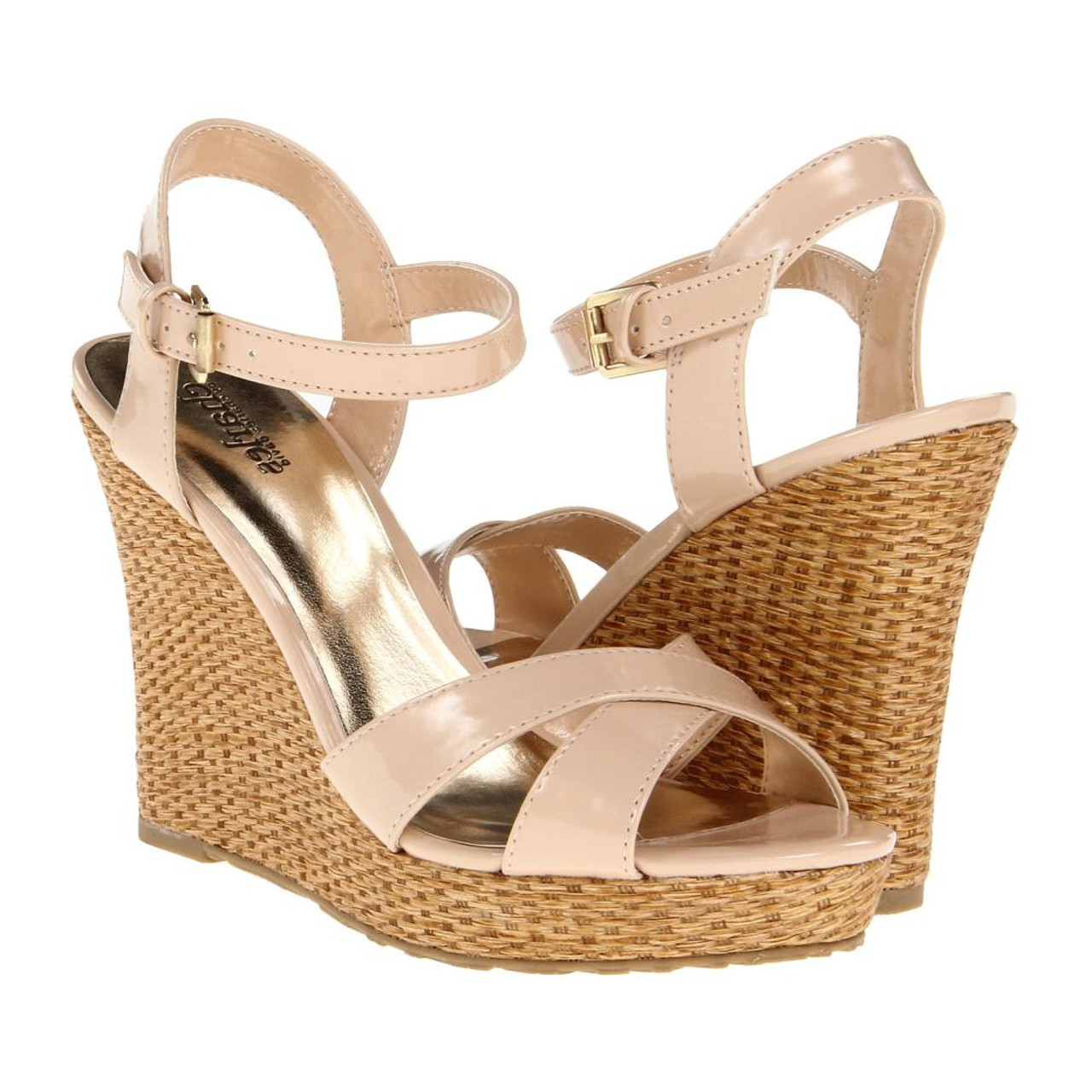 8b6765e6d0f Charles David Tricky Wedge Nude Patent Ladies Sandals - Shop now    Shoolu.com