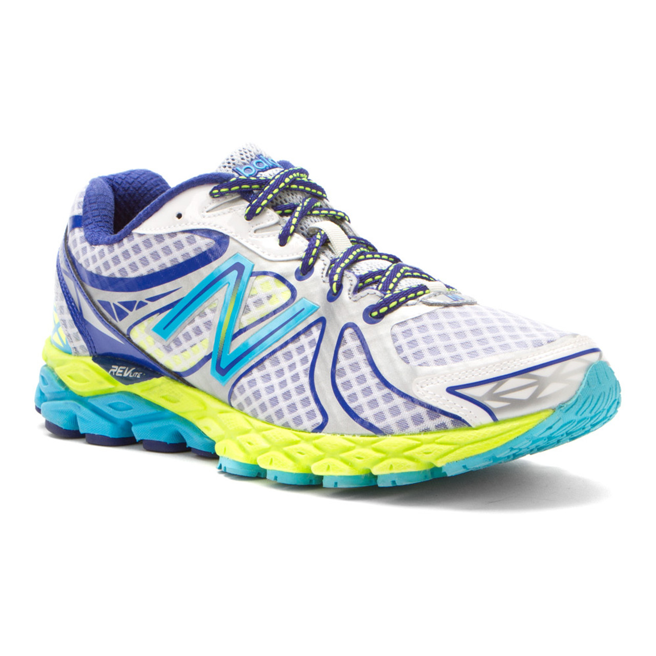 on sale c9ebb b95bc New Balance W870WB3 White Blue Yellow Ladies Running Shoes - Shop now    Shoolu