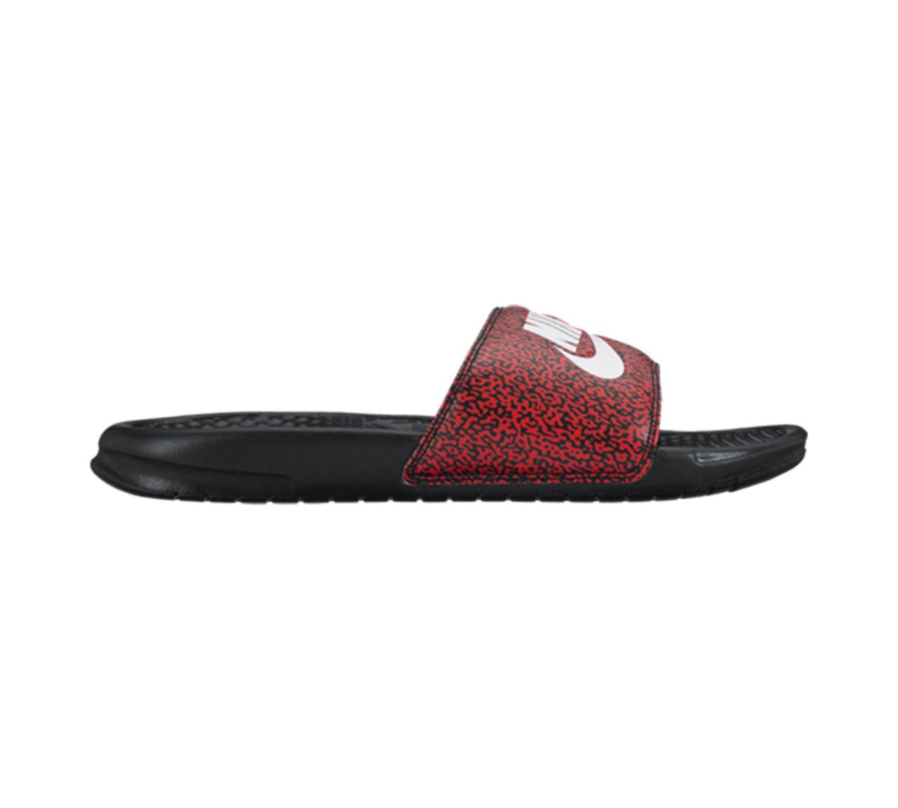 cf8aa265b949 Nike Men s Benassi JDI Print Slide Red White Black - Shop now   Shoolu