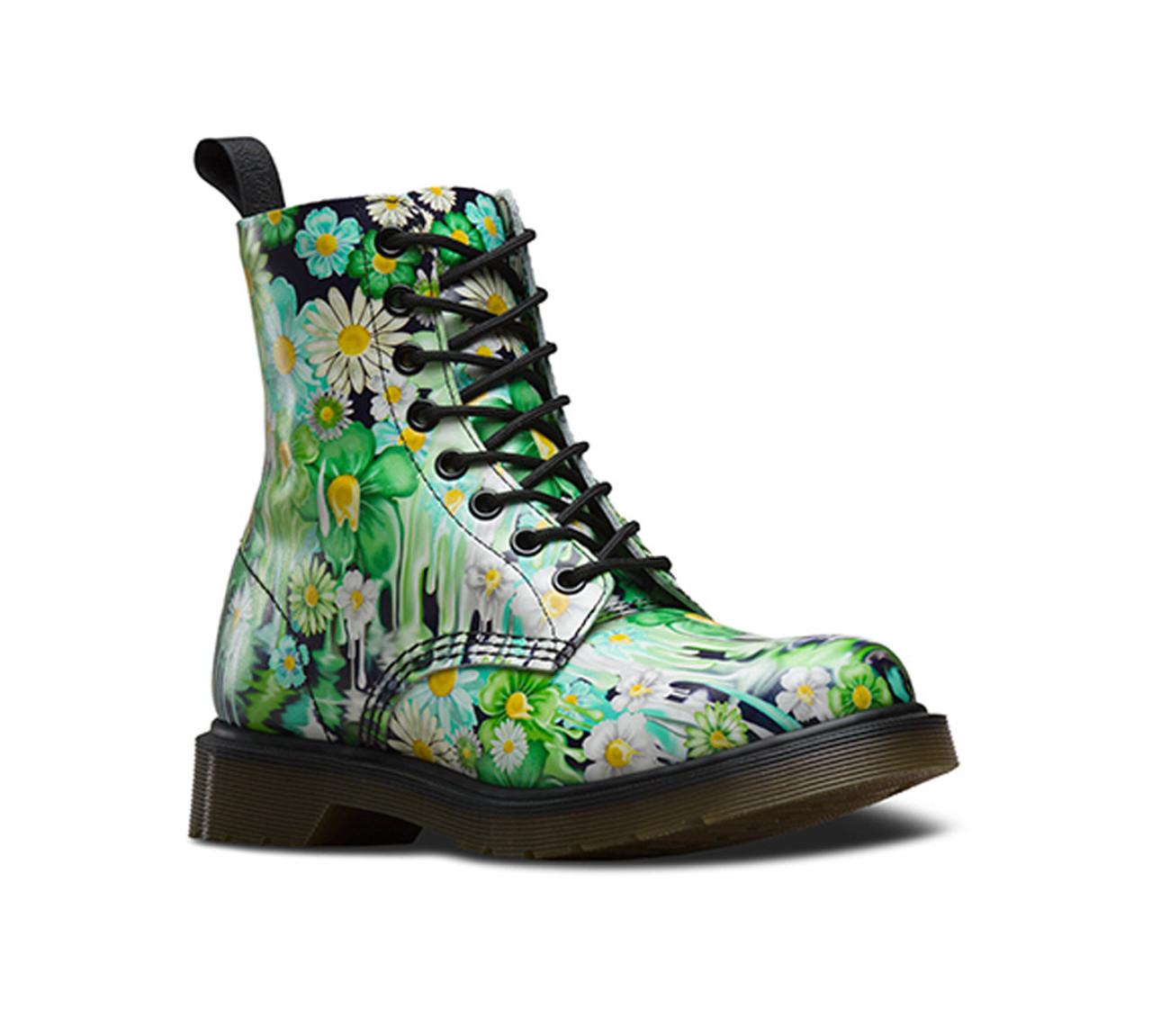 Dr Martens Women s Slime Floral Pascal Boot Green Paint Slick Backhand -  Shop now   Shoolu f692d1e98b