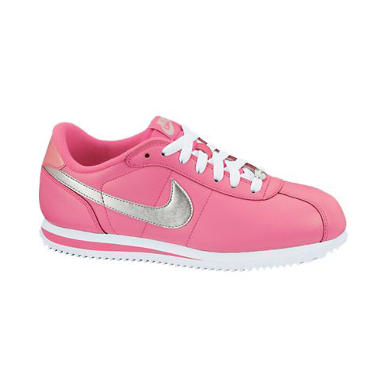 buy online bcbb2 a36d4 Nike Cortez Basic Leather Pink White Silver Ladies Walking Shoes - Shop now
