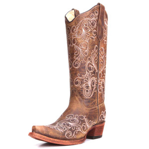 CORRAL Girls Multi-Color Embroidery Cowgirl Boot Square Toe E1197