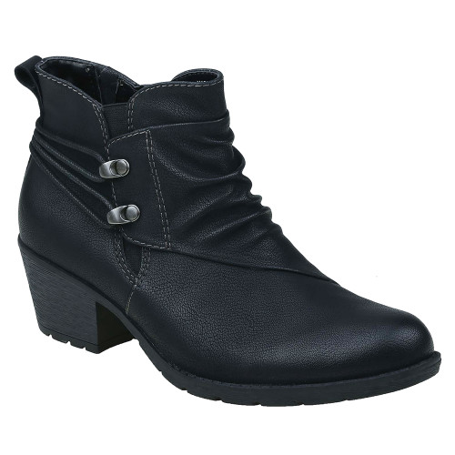 Earth Origins Women's Anika Ankle Bootie Black PU - Shop now @ Shoolu.com