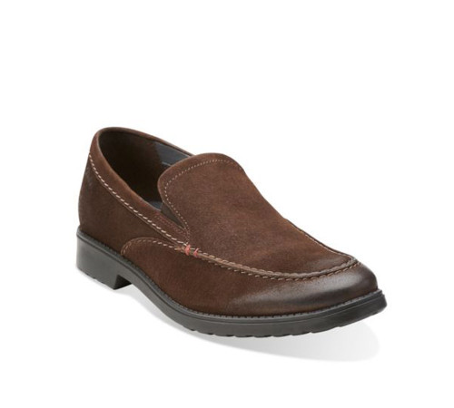 Clarks Men's Rakin Free Loafer Dark Brown Leather - Shop now @ Shoolu.com