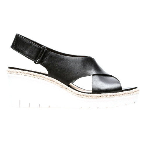 Clarks Women's Palm Glow Wedge Slingback Sandal Black Leather - Shop now @ Shoolu.com