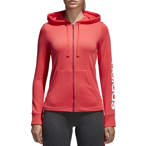 Adidas Women's Essentials Linear Full Zip Fleece Hoodie Real Coral/White - Shop now @ Shoolu.com