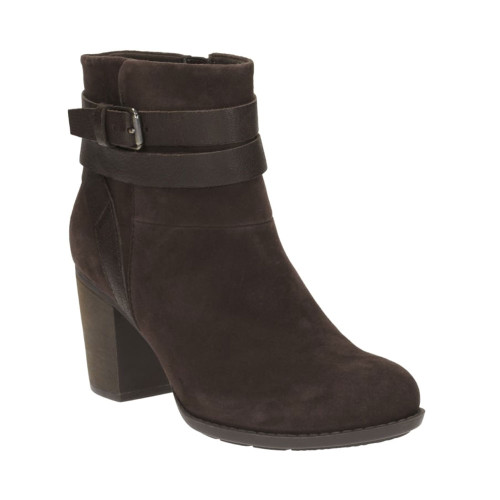 Clarks Women's Enfield River Boot Brown Suede/Leather - Shop now @ Shoolu.com
