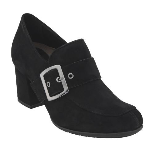 Earthies Women's Rhea Heel Slip On Black Suede - Shop now @ Shoolu.com