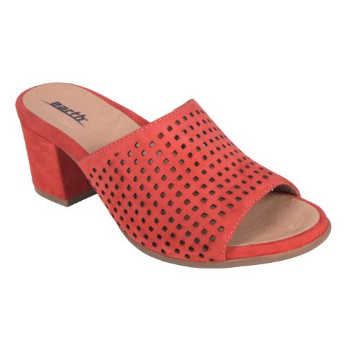 Earth Women's Ibiza Heel Slide Bright Coral Silky Suede - Shop now @ Shoolu.com