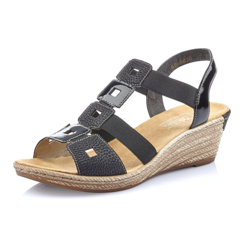 Rieker Women's Fanni 88 Wedge Sandal Black - Shop now @ Shoolu.com