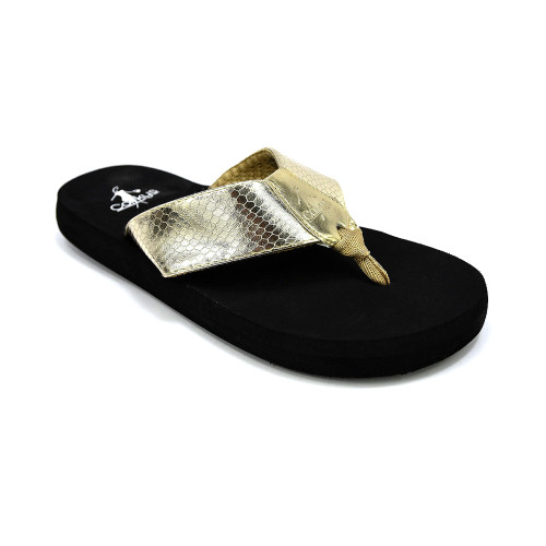 Corkys Women's Royal Flip Flop Gold - Shop now @ Shoolu.com