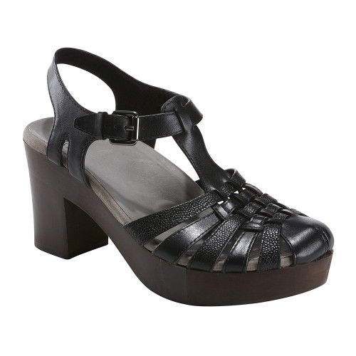 Earth Women's Oak Cerris Sandal Black Leather - Shop now @ Shoolu.com